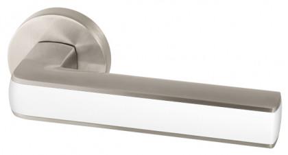 Ручка раздельная Armadillo (Армадилло) CUBE URB3 SN/White-19 Мат никель/белый