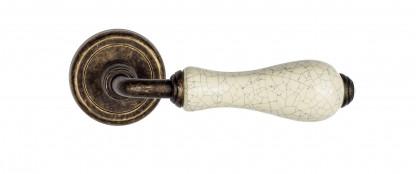 "Дверная ручка Venezia ""COLOSSEO"" белая керамика паутинка D1 античная бронза"